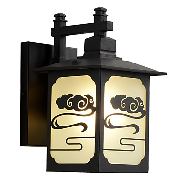 abordables Éclairage Extérieur-les lumières murales extérieures noires imperméables / 1pc e26 / e27 ampoule blanche chaude incluent pour l'éclairage extérieur / cour / jardin / 220-240v / 110-120v