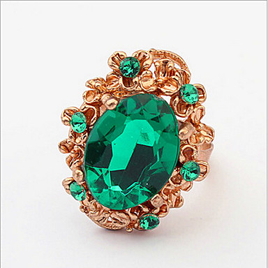 billige Motering-Dame Ring Justerbar ring 1pc Rød Grønn Strass Glass Legering Oval Stilfull Enkel Daglig Arbeid Smykker Klassisk Blomst Søtt Smuk