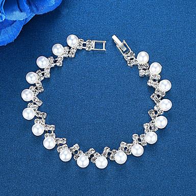 abordables Bracelet-Chaînes Bracelets Bracelet Femme Classique Imitation de perle Imitation Diamant Boule simple Européen Mode Elégant Bracelet Bijoux Argent pour Mariage Soirée Fiançailles Cadeau Quotidien