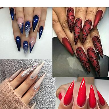 voordelige Nagelgereedschap & Apparatuur-600 stks lange stiletto's sharp nep nail art acryl valse nagel tip wit / clear / natuurlijke kiezen
