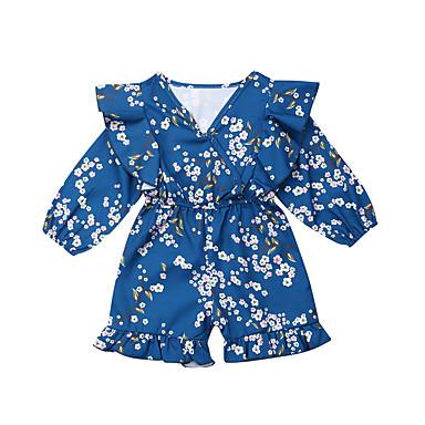 billige Babydrakter-Baby Jente Aktiv / Grunnleggende Blomstret Trykt mønster Langermet Endelt Blå