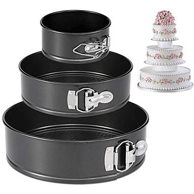 halpa Leivontavälineet-3kpl Ruostumaton teräs Special Material DIY Leipä Monikäyttö for Cake Pyöreä Cake Pan kakku Muotit Bakeware-työkalut