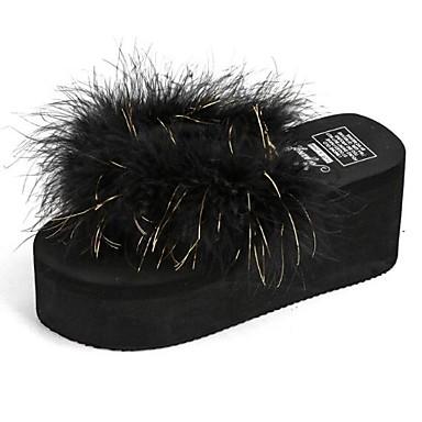 voordelige Damespantoffels & slippers-Dames Slippers & Flip-Flops Creepers Veer EVA Zomer Wit / Zwart / Fuchsia