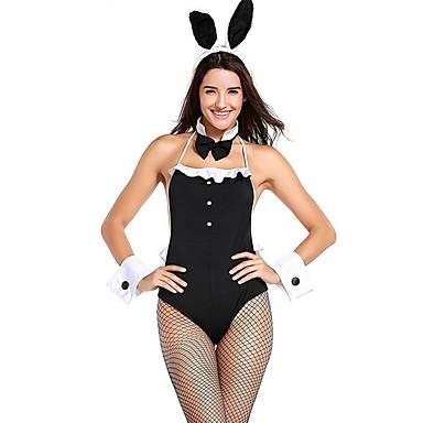 Playboy Tavşanı Kostümü Kostüm Kadın's Peri Masalı Teması Cadılar Bayramı Performans Tema Partisi Kostümler Kadın's Dans kostümleri Polyester Malzeme Kombini