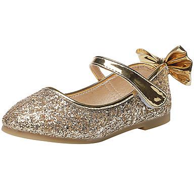 baratos Sapatos de Criança-Para Meninas Couro Ecológico Rasos Little Kids (4-7 anos) Sapatos para Daminhas de Honra Dourado / Prata Primavera / Verão