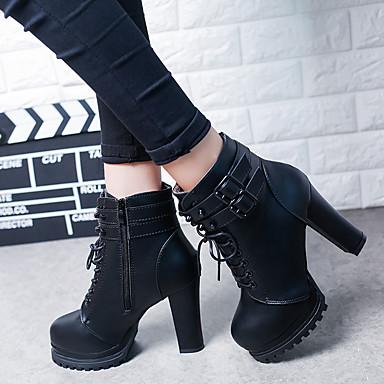 povoljno Ženske čizme-Žene Čizme Kockasta potpetica Okrugli Toe Gumb Eko koža Čizme gležnjače / do gležnja Vintage Zima Crn