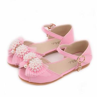baratos Sapatos de Criança-Para Meninas Couro Ecológico Sandálias Little Kids (4-7 anos) / Big Kids (7 anos +) Conforto / Sapatos para Daminhas de Honra Laço / Miçangas Branco / Rosa claro Verão