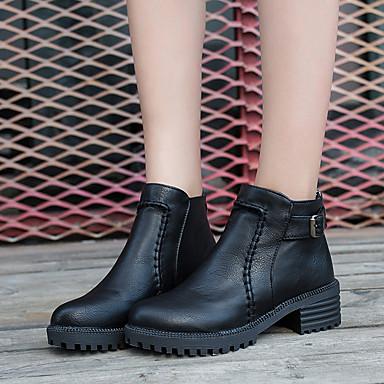 Kadın's Çizmeler Kalın Topuk Yuvarlak Uçlu PU Bootiler / Bilek Botları Klasik Sonbahar Kış Siyah / Kahverengi