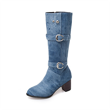 povoljno Ženske cipele-Žene Čizme Kockasta potpetica Okrugli Toe Traper Čizme do koljena Jesen zima Crn / Svjetloplav / Dark Blue / Zabava i večer