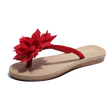 hesapli Kadın Terlikleri-Kadın's Terlik & Flip-flops Düz Taban Açık Uçlu PU Günlük Yaz Bej / Kırmzı / Yeşil