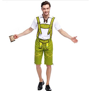 Kasım Festivali Kıyafetler Lederhosen Erkek Bavyera Siyah Yeşil Olive Brown Bluz Pantalonlar