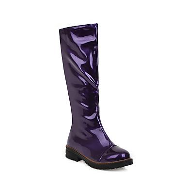 povoljno Ženske čizme-Žene Čizme Ravna potpetica Okrugli Toe Lakirana koža Čizme do koljena Klasik / minimalizam Jesen zima Crvena / Obala / Fuksija