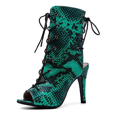 baratos Super Ofertas-Mulheres Botas Botas de calcanhar de estilete Salto Agulha Couro Ecológico Botas Curtas / Ankle Verão Amarelo / Verde / Leopardo