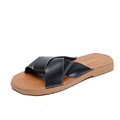 voordelige Damespantoffels & slippers-Dames Slippers & Flip-Flops Platte hak Open teen PU Informeel Zomer Wit / Zwart / Khaki