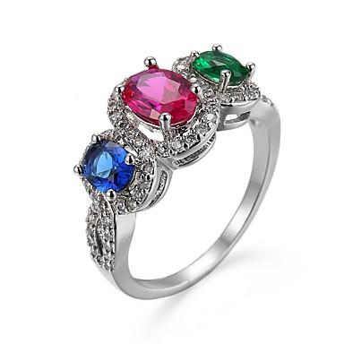 voordelige Dames Sieraden-Dames Ring 1pc Regenboog Koper Gesimuleerde diamant Geometrische vorm Artistiek Luxe Europees Feest Lahja Sieraden Transparant