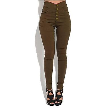 povoljno Novo u ponudi-Žene Veći konfekcijski brojevi Slim Hlače - Jednobojni Dugme Visoki struk Crn Vojska Green Braon S M L