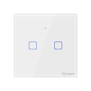 povoljno Smart prekidač-sonoff pametni prekidač t0eu2c-tx za dnevnu sobu / radnu sobu / niska buka / dekorativni / kreativni& bežični WiFi 100-240 v (2 gang)