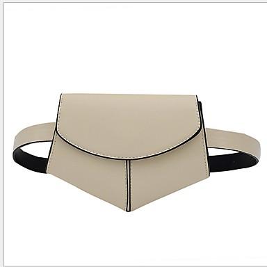 baratos Super Ofertas-Mulheres Ziper PU Bolsa de Cintura Listrado Preto / Marron / Branco