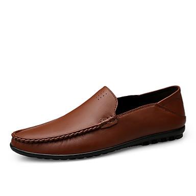 Муж. Кожаные ботинки Наппа Leather Весна лето / Наступила зима На каждый день / Английский Мокасины и Свитер Для прогулок Нескользкий Черный / Коричневый / Офис и карьера