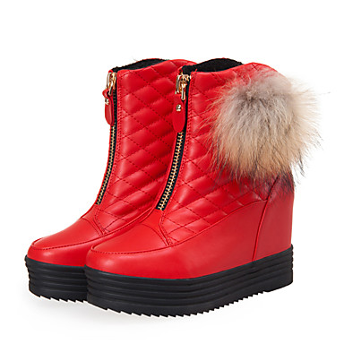 povoljno Ženske čizme-Žene Čizme Creepersice Okrugli Toe PU Čizme do pola lista Uglađeni / Stil preppy Jesen zima Crn / Crvena