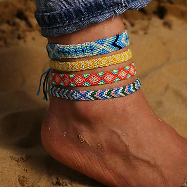 Kadın's Ayak bileği bilezik Örgülü Yaratıcı Arrow Bohem moda Etniczne Ayak bileziği Mücevher Yeşil / Açık Mavi / Mor Uyumluluk Günlük Tatil
