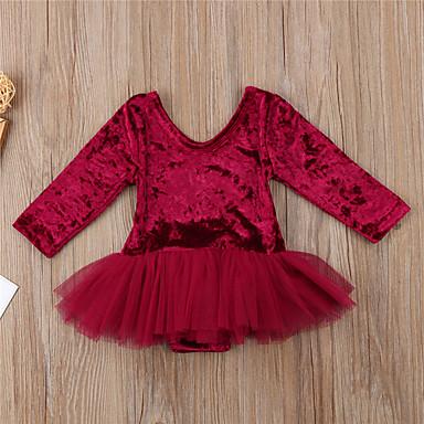 povoljno Odjeća za bebe-Dijete Djevojčice Aktivan / Osnovni Jednobojni Dugih rukava Jednodijelno Lila-roza