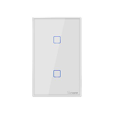 Недорогие Электонные выключатели-sonoff t0us2c-tx 100-240 В серии TX Wi-Fi настенный выключатель умный настенный сенсорный выключатель света для умного дома работать с alexa google home 2ch