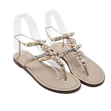 Kadın's Sandaletler Düz Taban Yuvarlak Uçlu Taşlı Mikrofiber Yaz Altın