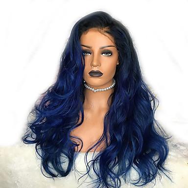 povoljno Perike i ekstenzije-Sintetičke perike Tijelo Wave Stil Stepenasta frizura Capless Perika Crna / plava Sintentička kosa 58~62 inch Žene Novi Dolazak Plava Perika Jako dugo