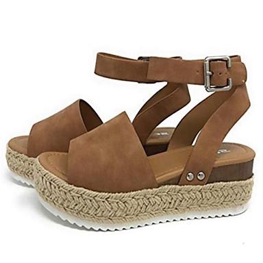 Kadın's Sandaletler Creepers PU Yaz Siyah / Leopar / Sarı