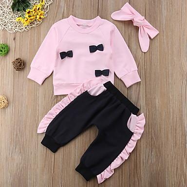 povoljno Odjeća za bebe-Dijete Djevojčice Ulični šik Jednobojni Dugih rukava Regularna Komplet odjeće Blushing Pink