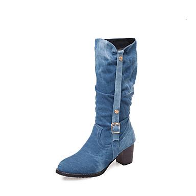 povoljno Ženske čizme-Žene Čizme Kockasta potpetica Okrugli Toe Traper Čizme do pola lista Jesen zima Crn / Plava