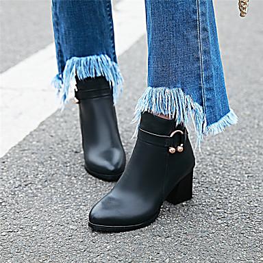 voordelige Dameslaarzen-Dames Laarzen Blokhak Gepuntte Teen Imitatieleer Korte laarsjes / Enkellaarsjes Brits Winter Zwart / Beige / Roze