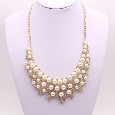 abordables Colliers-Collier de perles Femme Chunky Perle Imitation de perle Artistique Elégant Mignon Blanc 52+5 cm Colliers Tendance Bijoux 1pc pour Mariage Fiançailles Cadeau Rond