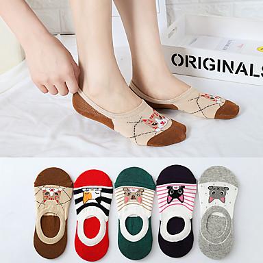 5 Çiftleri Kadın's Çoraplar Orta / Standard Karton Spor Sweet Style / minimalist tarzı Spandex / Silikon / Pamuk EU36-EU46