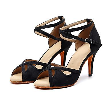 baratos Shall We® Sapatos de Dança-Mulheres Camurça Sapatos de Dança Latina Presilha Salto Salto Alto Magro Personalizável Preto