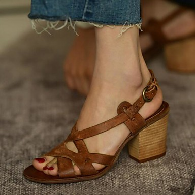 c6173e675b7ba Women's Sandals Chunky Heel PU(Polyurethane) Summer Gray / Brown / Almond