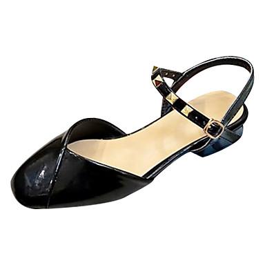 Kadın's Sandaletler Düşük Topuk Perçin PU Minimalizm Yaz Siyah / Bej