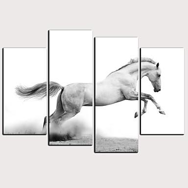 Boyama Haddelenmiş Kanvas Tablolar - Hayvanlar Klasik Modern Dört Panelli Sanatsal Baskılar