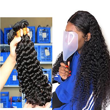 """baratos Extensões de Cabelo Natural-3 pacotes Cabelo Brasileiro Deep Curly Cabelo Humano Um Pacote de Solução 8""""-26"""" Natural Tramas de cabelo humano Extensões de cabelo humano"""