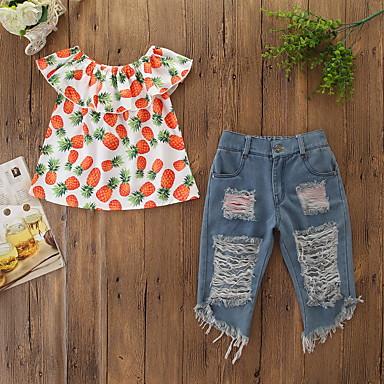 povoljno Kompletići za bebe-Dijete Djevojčice Aktivan / Osnovni Print ripped / Print Bez rukávů Regularna Komplet odjeće