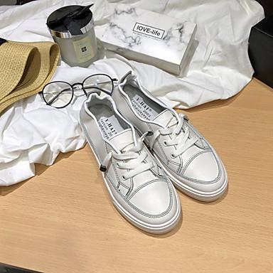 Kadın's Spor Ayakkabısı Düz Taban Yuvarlak Uçlu PU Günlük Yaz Beyaz / Bej