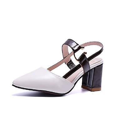 Kadın's Sandaletler Kalın Topuk PU Tatlı İlkbahar yaz Siyah / Beyaz / Kahverengi