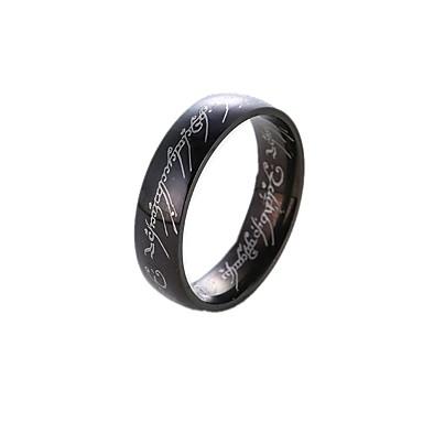 billige Motering-Herre / Dame Band Ring / Ring / Tail Ring 1pc Gull / Hvit / Svart Rustfritt Stål / Titanium Stål Sirkelformet Grunnleggende / Mote Gave / Daglig Kostyme smykker