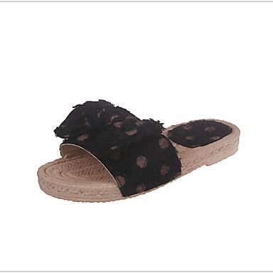 voordelige Damespantoffels & slippers-Dames Slippers & Flip-Flops Platte hak Ronde Teen Strik PU Zomer Zwart / Wit / Roze