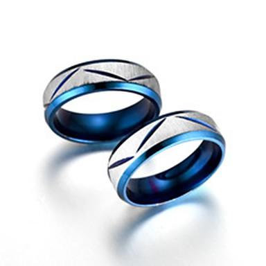 voordelige Herensieraden-Heren Dames Ringen voor stelletjes Bandring Ring 2pcs Blauw Titanium Staal Cirkelvormig Standaard Modieus Lahja Dagelijks Sieraden Cool / Staartring