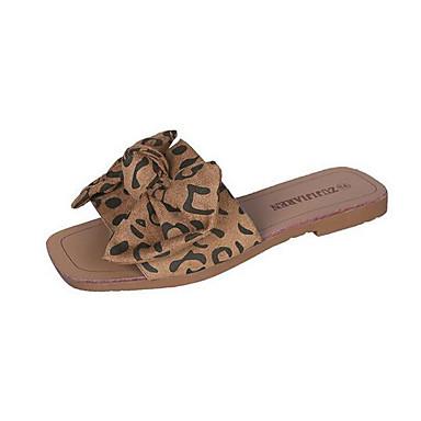 voordelige Damespantoffels & slippers-Dames Slippers & Flip-Flops Platte hak Open teen Strik Synthetisch Zomer Zwart / Beige / Bruin