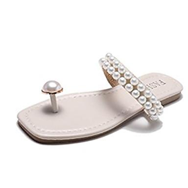 voordelige Damespantoffels & slippers-Dames Slippers & Flip-Flops Comfort schoenen Platte hak Imitatieparel PU Informeel Zomer Zwart / Beige