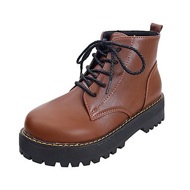 Kadın's Çizmeler Düşük Topuk Yuvarlak Uçlu PU Yarı-Diz Boyu Çizmeler Günlük Yürüyüş Sonbahar Kış Siyah / Koyu Kahverengi