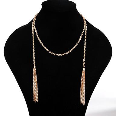 ieftine Coliere-Pentru femei Verde Lănțișor Oval Petală Dulce Cute Stil Crom Auriu 64 cm Coliere Bijuterii 1 buc Pentru Nuntă Logodnă Club Festival